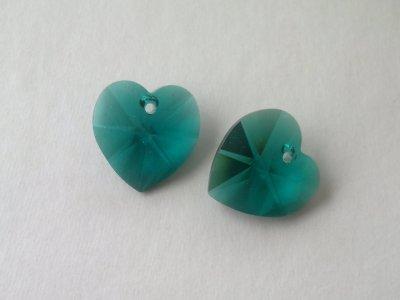 Přívěsek XILION srdce 18x17,5 mm, Swarovski, emerald