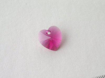 Přívěsek XILION srdce 14,4x14 mm, Swarovski, fuchsia