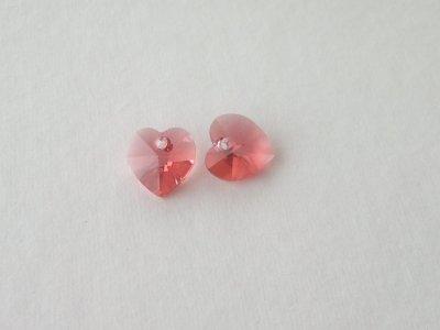 Přívěsek XILION srdce 10,3x10 mm, Swarovski, padparadscha