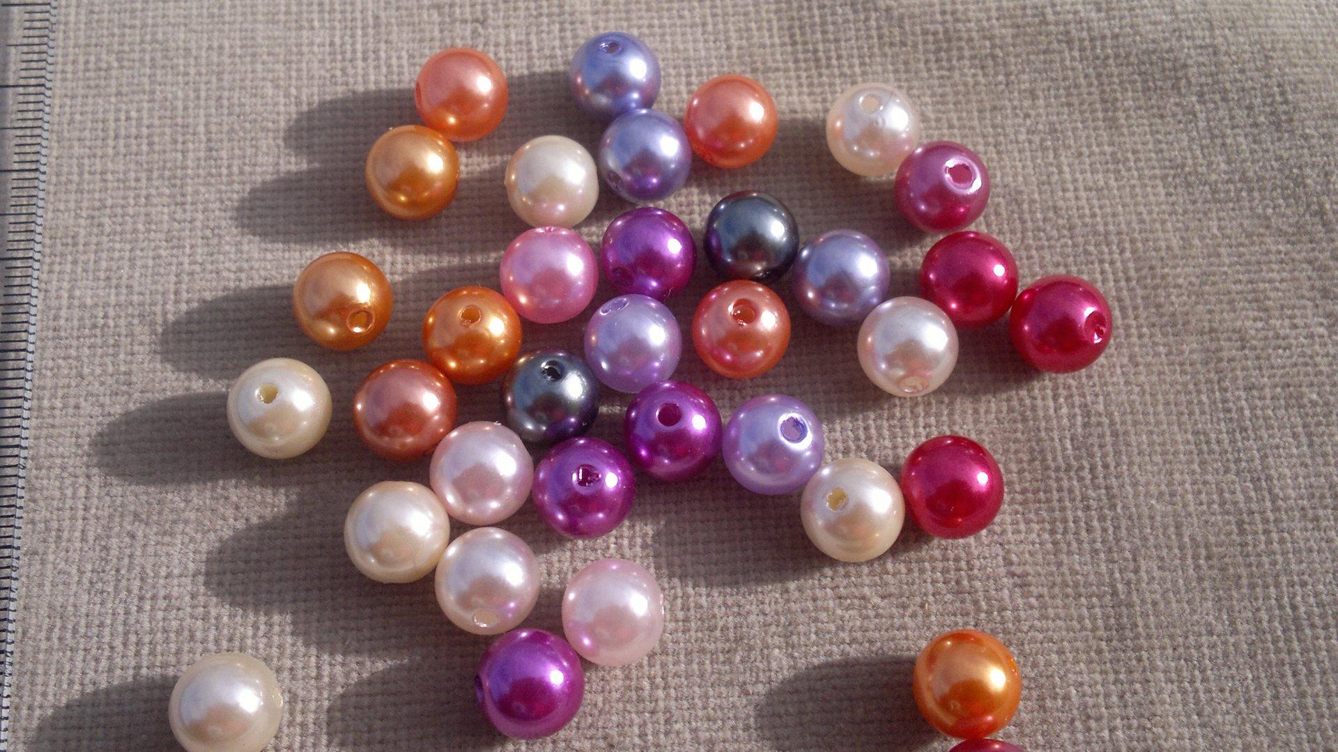 Perly plastové, voskované - MIX 10 mm