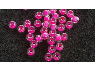 Velkodírkové, mačkané korálky 5 mm - růžový průtah