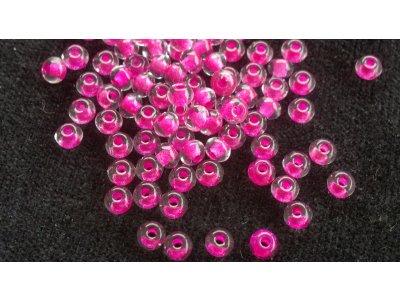 Velkodírkové, mačkané korálky 4 mm - růžový průtah