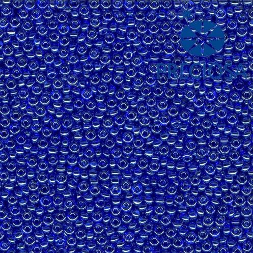 Rocailles PRECIOSA (7/0), modrá průhledná s listrem