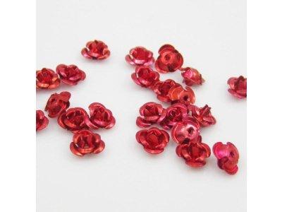 Hliníková růžička 6x4,5 mm, červená