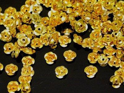 Hliníková růžička 6x4,5 mm, zlaté