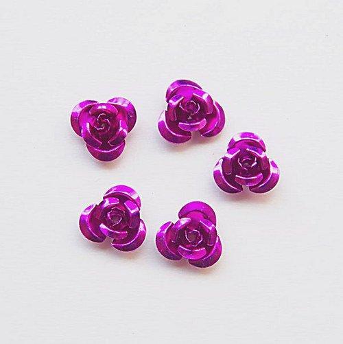 Hliníková růžička 15x9 mm, fialová