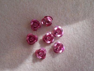 Hliníková růžička 6x4,5 mm, růžová