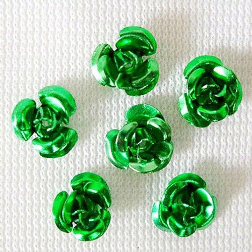 Hliníková růžička 15x9 mm, zelená tráva