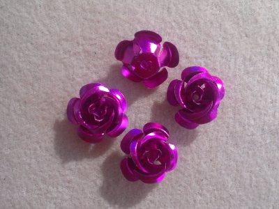 Hliníková růžička 15x9 mm, růžovofialová