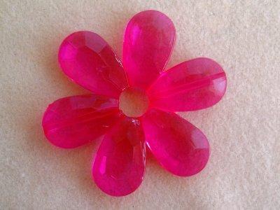 Akrylová kytka, pr. 57 mm, sytě růžová