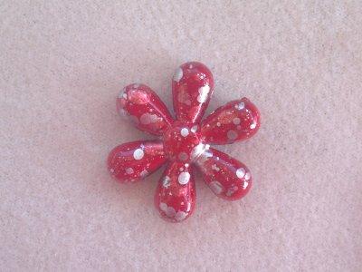 Akrylová sprejová kytka pr. 25 mm, červená akryl červená 25 mm 5 mm 1,5 mm