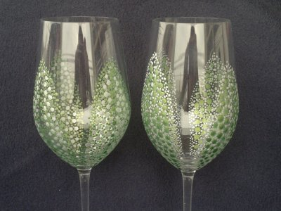 Hrášková sada skleniček stříbrná/zelená sklo 460 ml