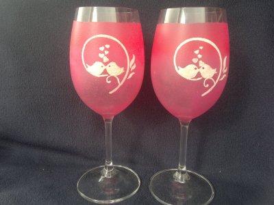 Ručně malovaná sklenice - růžová, ptáčci sklo 350 ml tyrkysová