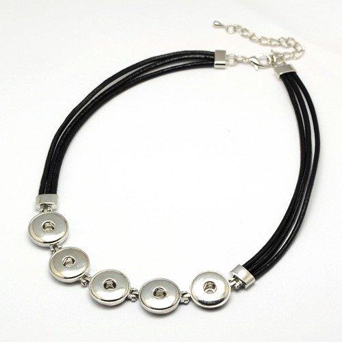 Kožený náhrdelník, 5 lůžek na kabocvok platina 5-6 mm