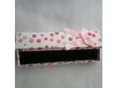 Krabička 220x42 mm, bílá s puntíky a kuličky