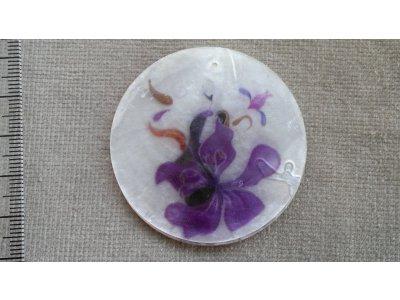 Slída 50 mm - motiv 6 perleť 50 mm 1,2 mm bílá/fialová