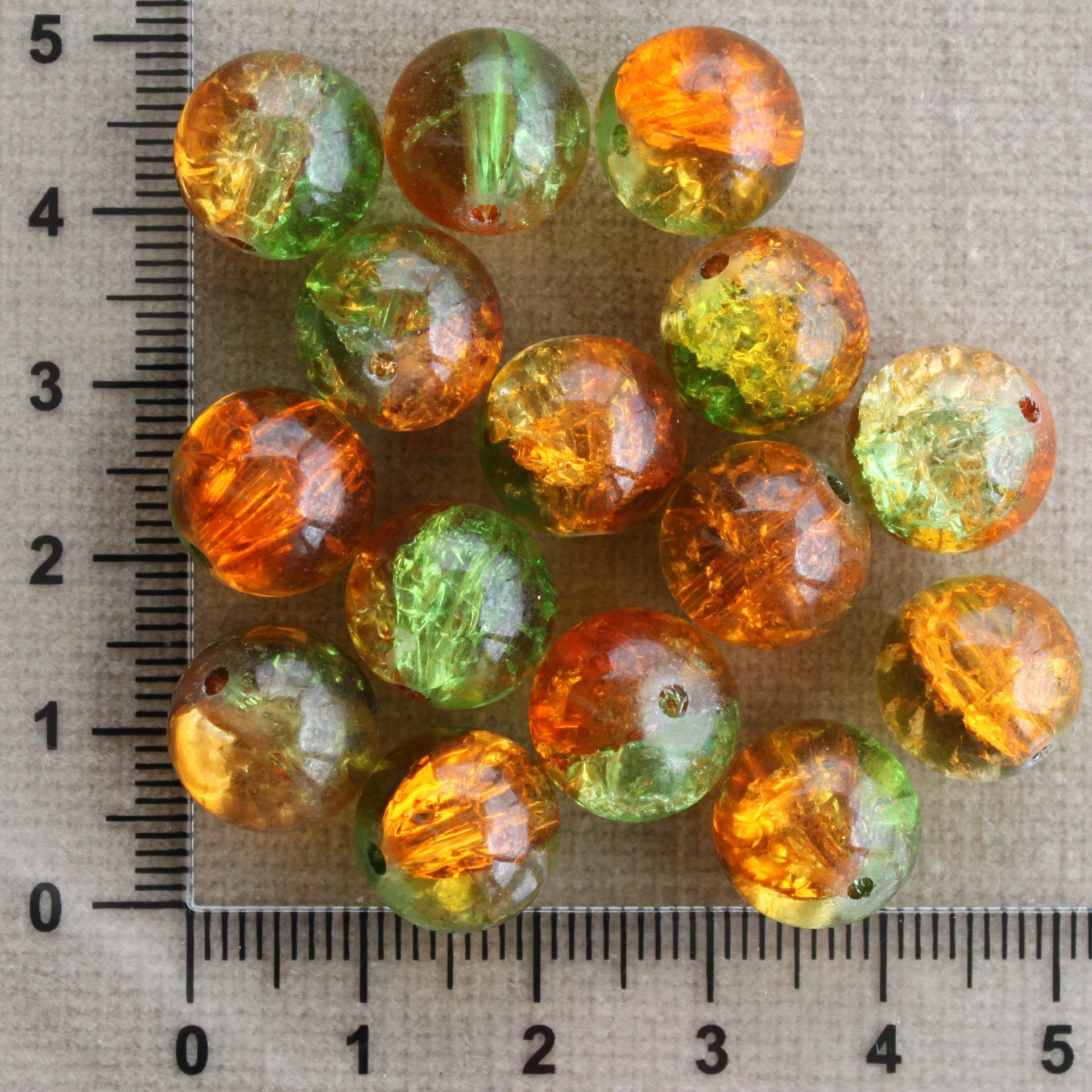 Oranžovo-zelené práskačky 12 mm zelená/oranžová kulička sklo 12 mm 1,5 mm