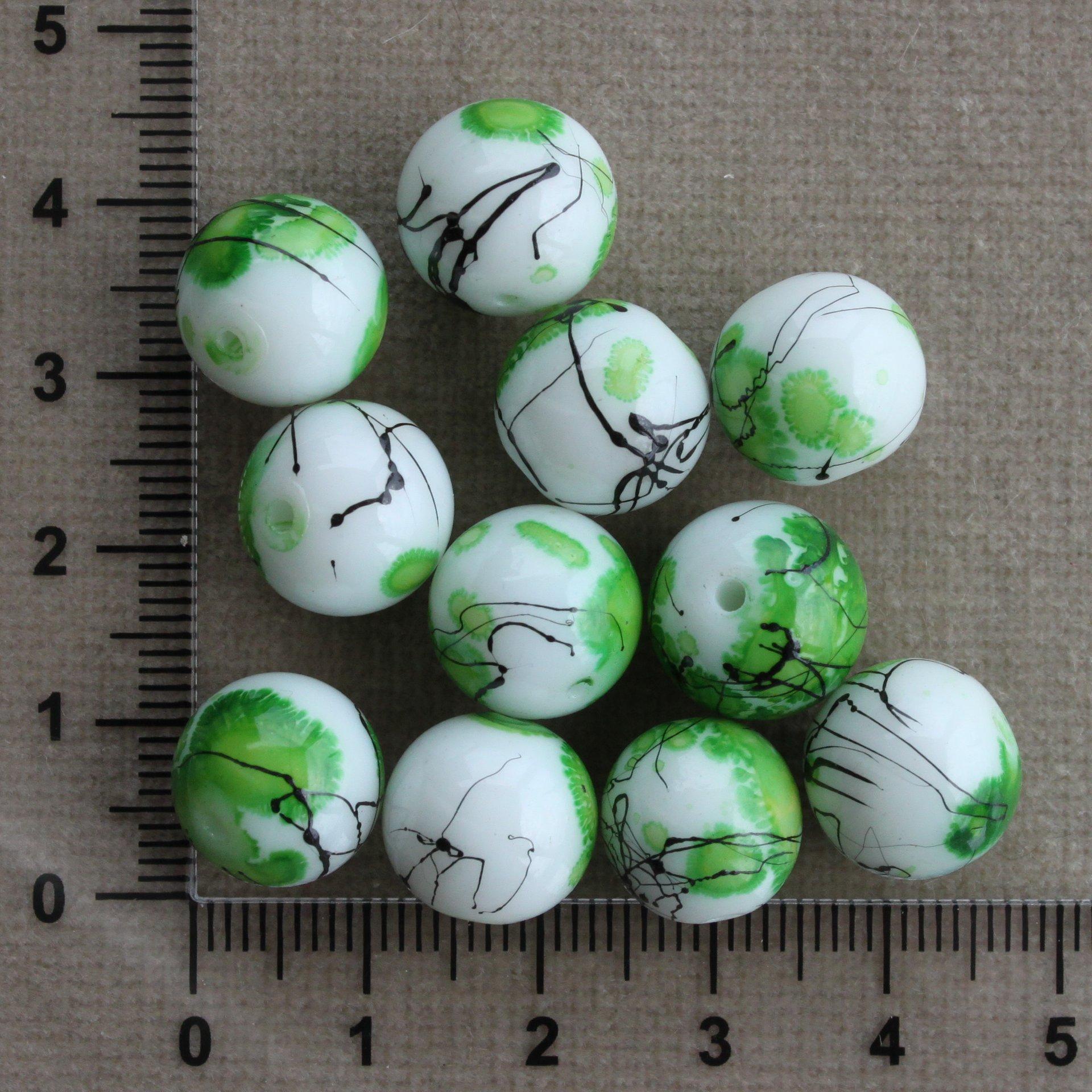Kuličky - zeleno-černý motiv  12 mm bílá/zelená/černá kulička keramika 12 mm 1,5 mm