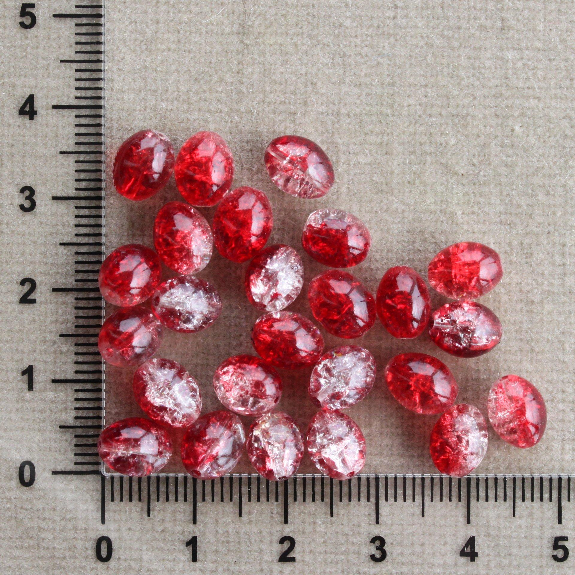 Oliva červeno-čiré, praskací průhledá/červená oliva sklo 8 mm 6,5 mm 0,6 mm