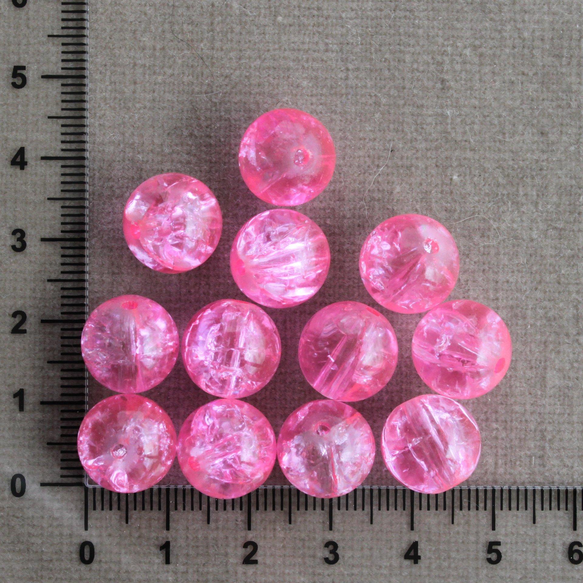 Růžové - 12 mm; praskací růžová kulička sklo 12 mm 1,5 mm