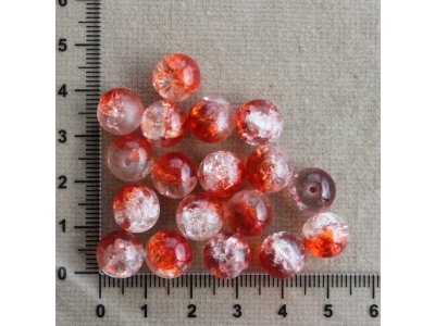Červeno - čiré 10 mm, práskačky průhledné/červené kulička sklo 10 mm 1,3 mm