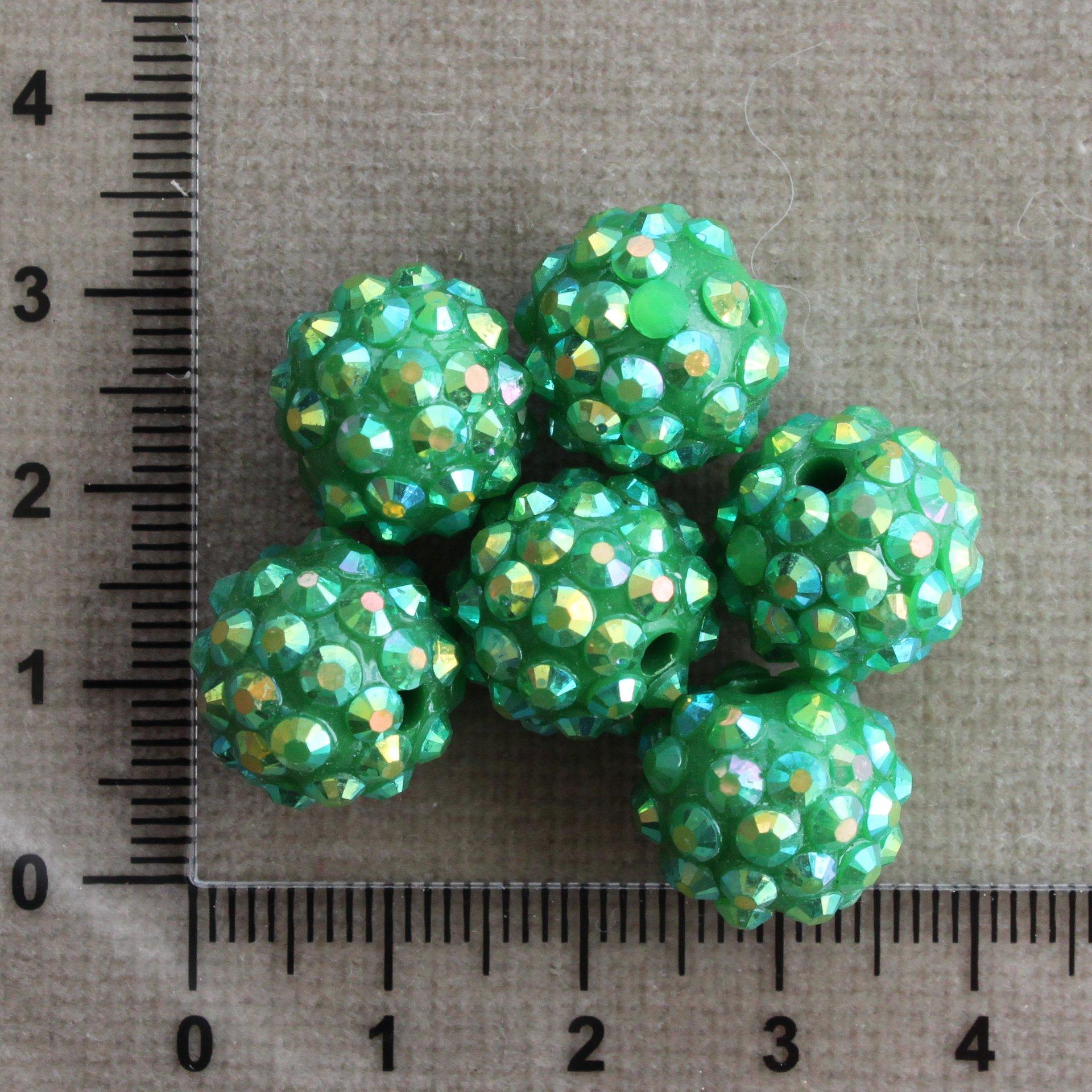Tmavě zelená 13 mm zelená kulička plast 13 mm 2,4 mm