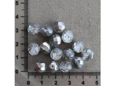 Čiré - stříbrný pokov - 9 mm průhledná/stříbrná kulička sklo 9 mm 1 mm