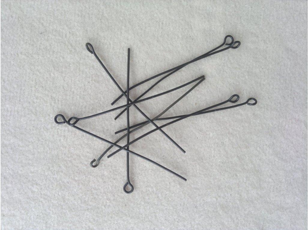 Ketlovací jehly 5 cm, černé černá kov