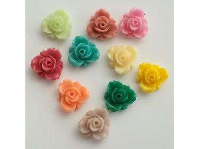 Plastové růžičky 12x5,5mm - mix barev