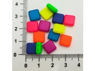 Neon ČTVEREC - dvoudírka 8x8mm, více barev
