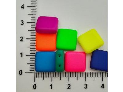 Neon ČTVEREC - dvoudírka 12x12mm, více barev