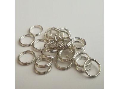 Spojovací kroužky dvojité 8 mm silné 0,7 mm - stříbrná