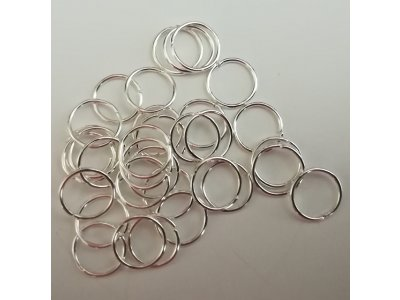 Spojovací kroužky 12 mm, silné 0,9 mm - stříbrná