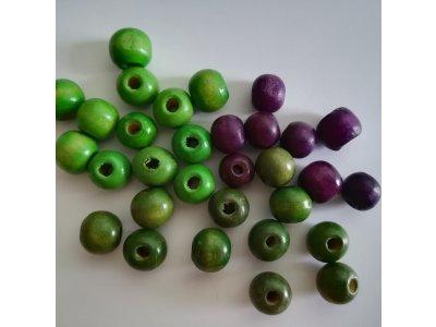 Kuličky dřevěné 9 až 11 mm, více barev
