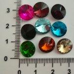 Rivoli 10 mm, broušené sklo, více barev