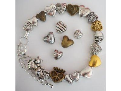 Velkodírková PANDORA, kovová, srdce