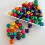 Dřevěné korálky 6x5 mm, více barev - barevný mix