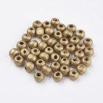Dřevěné korálky 6x5 mm, více barev - zlatá