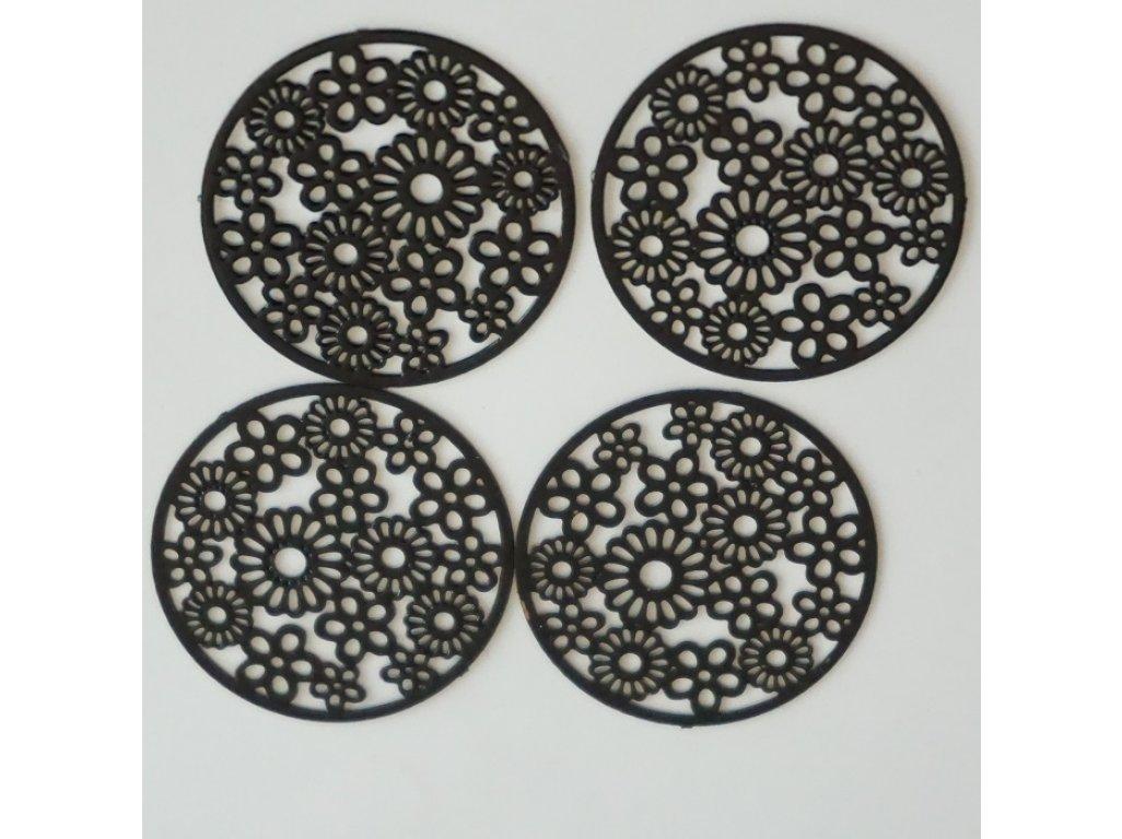 Filigrán kytičky pr. 19 mm, černá