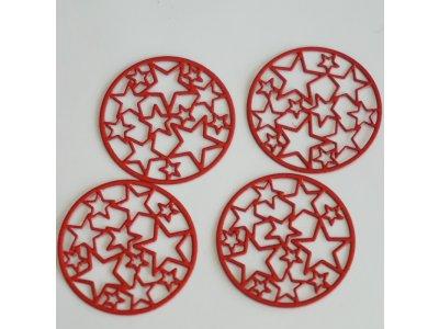 Filigrán hvězdičky pr. 20 mm, červená