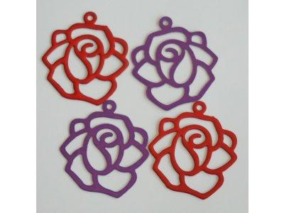 Filligrán obrys růže, více barev