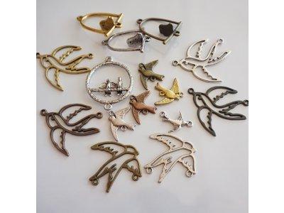 Kovové mezičlánky, různé ptactvo