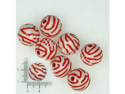 Plastové korálky, červeno-bílé